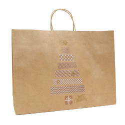 Kraft Bags - Metallic Present Tree - Boutique - Brown
