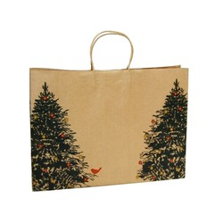 Kraft Bags - Christmas Tree Robin - Boutique - Brown