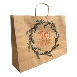 Kraft Bags - Christmas Wreath - Boutique - Brown