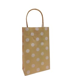 Kraft Bags - Small - White Dots