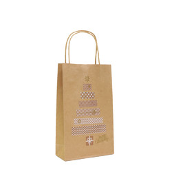 Kraft Bags - Metallic Present Tree - Small - Brown