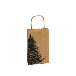 Kraft Bags - Christmas Tree Robin - Small - Brown
