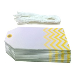 Gift Tags - 5x11cm - 50pk - Chevron - Yellow