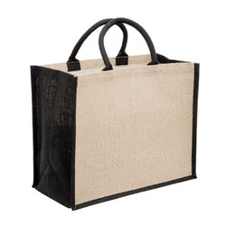 Large Jute Bags With Wide Gusset - Black