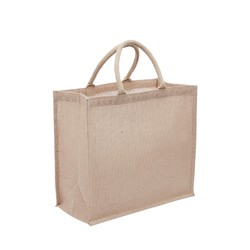 Medium Jute Bags With Wide Gusset - Natural