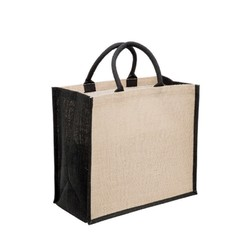 Medium Jute Bags With Wide Gusset - Black