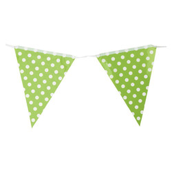 3.6m Flag Bunting - Polka Dots - Green