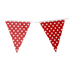 3.6m Flag Bunting - Polka Dots - Red