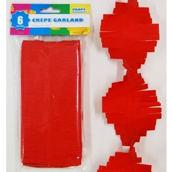Crepe Paper Garland Decoration - Red - 8.5cm x 6 Metres
