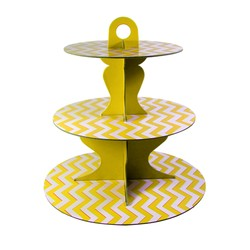 3 Tier Cup Cake Stand - Reversible Design - Yellow