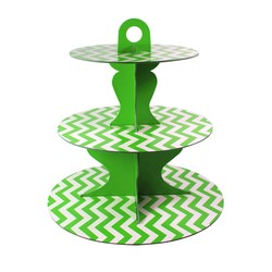 3 Tier Cup Cake Stand - Reversible Design - Green