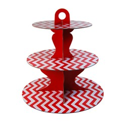 3 Tier Cup Cake Stand - Reversible Design - Red