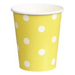 Paper Cups 265ml - 16pc - Yellow Dots