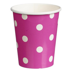 Paper Cups 265ml - 16pc - Pink Dots