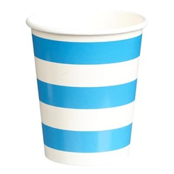 Paper Cups 265ml - 16pc - Blue Stripes