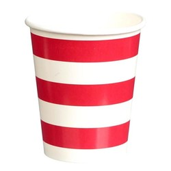Paper Cups 265ml - 16pc - Red Stripes