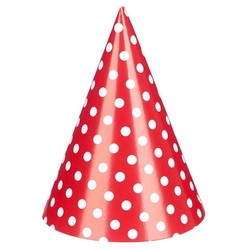 10 x DIY Paper Party Hats  - Red Polka Dots