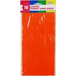 10 x Party Paper Loot Bags - Orange