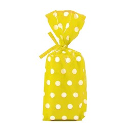 Cello Loot Lolly Bags - 24pcs - Dots - Yellow