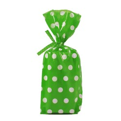 Cello Loot Lolly Bags - 24pcs - Dots - Green