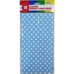 10 x Party Paper Loot Bags - Light Blue Polka Dots
