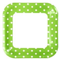 23cm Square Paper Plates - 8pc - Green