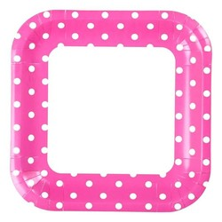 23cm Square Paper Plates - 8pc - Pink