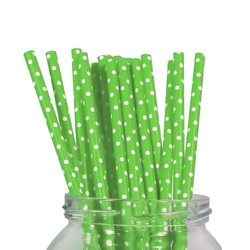 Paper Straws - 20pcs - Green Dots