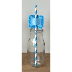 Straw Toppers- 24pcs - Blue
