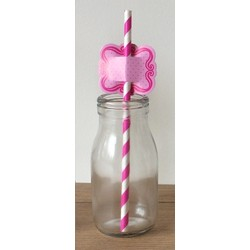 Straw Toppers - 24pcs - Pink