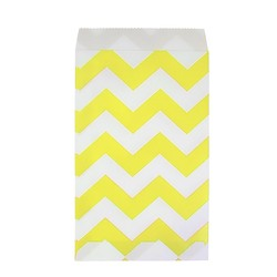 Paper Treat Bags - 12pcs - Chevron - Yellow