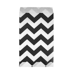 Paper Treat Bags - 12pcs - Chevron - Black