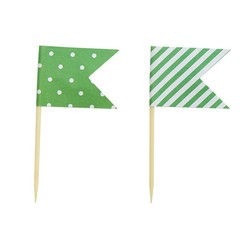 Cake Topper - Flags - Dots & Stripes - 24pcs - Green