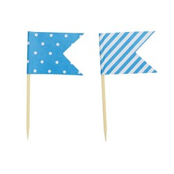 Cake Topper - Flags - Dots & Stripes - 24pcs - Blue