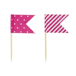 Cake Topper - Flags - Dots & Stripes - 24pcs - Pink