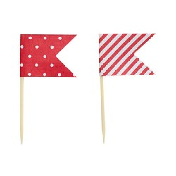 Cake Topper - Flags - Dots & Stripes - 24pcs - Red