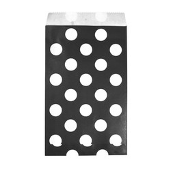 Paper Treat Bags - 12pcs - Dots - Black