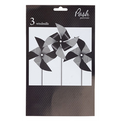 Paper Windmill Decoration - 3pcs - Black