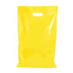 100 x Plastic Carry Bags Large With Die Cut Handle  - LDPE - Glossy Yellow