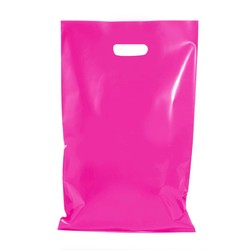 100 x Plastic Carry Bags Large With Die Cut Handle  - LDPE - Glossy Hot Pink