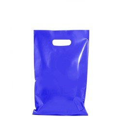 100 x Plastic Carry Bags Small - Medium With Die Cut Handle  - LDPE - Glossy Blue