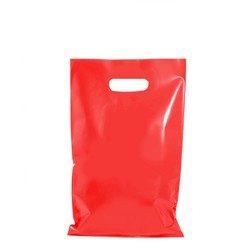 100 x Plastic Carry Bags Small - Medium With Die Cut Handle  - LDPE - Red