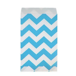 Paper Treat Bags - 50pcs - Chevron - Aqua Blue