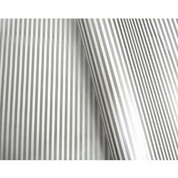 Wrapping Paper - 500mm x 60M - Silver Stripes on White