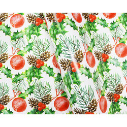 Wrapping Paper - 500mm x 60M - Christmas Wrapping Paper - Hollies with Berries