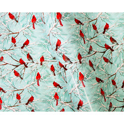 Wrapping Paper - 500mm x 60M - Christmas Wrapping Paper - Red Robins on Light Blue