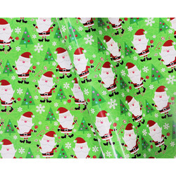 Wrapping Paper - 500mm x 60M - Christmas Wrapping Paper - Santa with Decorated Trees on Green