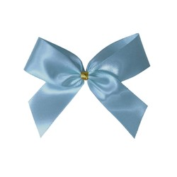 Satin Bow With Bottle Loop - 10cm - Light Blue - 50pk