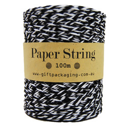 Paper Twine - 2mm x 100metres - Black/White Paper String