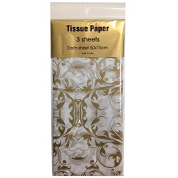 Tissue Paper Printed - 3 sheet -Gold Florentine